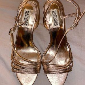 Badgley Mischka Gold Strappy Heels